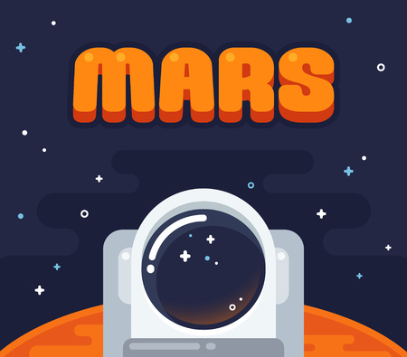 Astronaut on Mars. Flat cartoon space illustration. Helmet of an astronaut with Mars surface surrounded by starry sky. 向量圖像