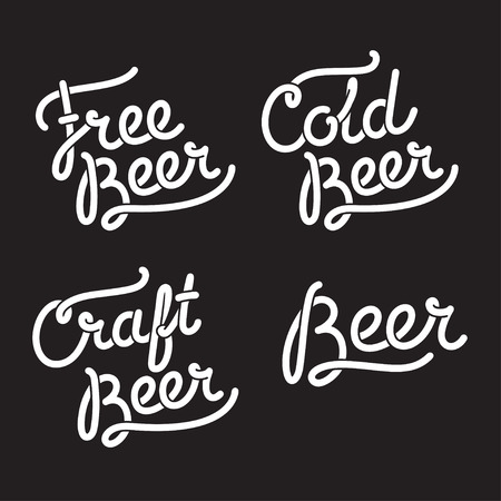 hand craft: Hand drawn Beer lettering: Free Beer, Craft Beer and Cold Beer. Vintage style hipster typography.
