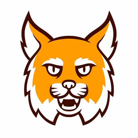 Angry cartoon mascot head. Comic style wildcat isolated illustration. Illustration