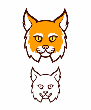 lynx: Cartoon head icon. Comic style big cat face, color and line illustration.