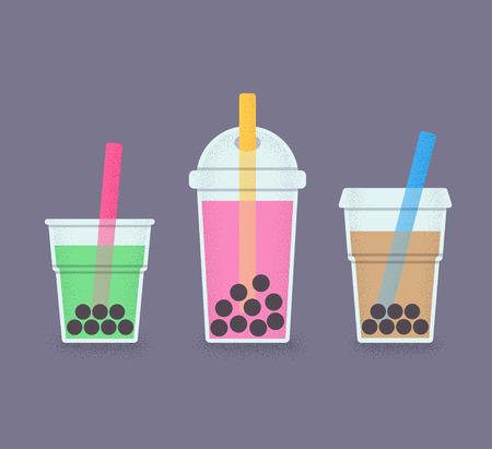 泡茶、ミルク カクテルとタピオカ真珠します。ストローで飲むグラスのセットです。泡茶またはミルクセーキのレトロなスタイルのイラスト。