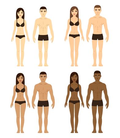 다양한 커플의 집합입니다. 다른 안색 및 신체 유형의 남자와 여자. 인종 그림입니다.