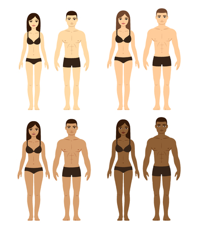 maillot de bain: Ensemble de couples divers. Les hommes et les femmes avec différentes carnations et les types de corps. Ethnicité illustration.