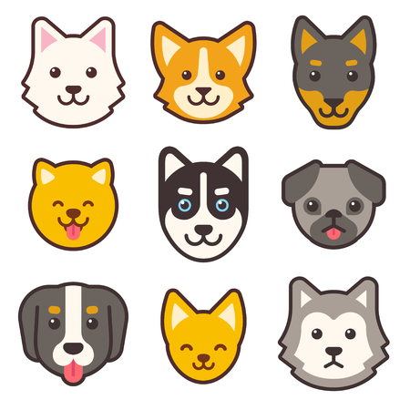 Cartoon dog faces set. Different breeds of dogs cute flat icons.