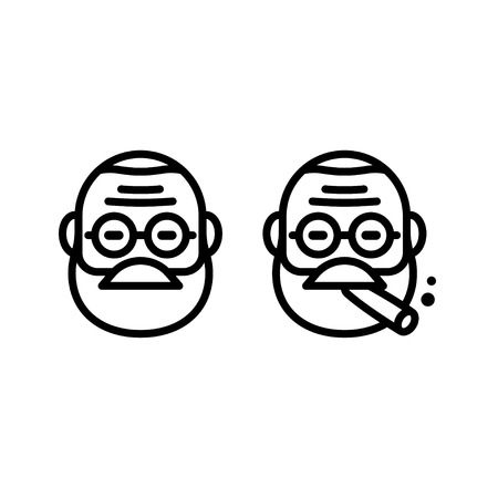 cigar smoking man: Freud line icon in stylized minimal style. Doctor with eyeglasses smoking cigar.