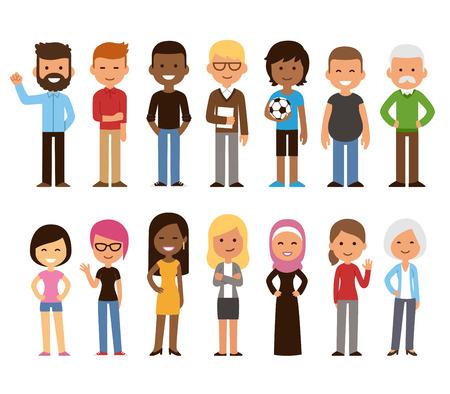 Zróżnicowany zestaw ludzi z kreskówek. Mężczyźni i kobiety w każdym wieku i stylu życia. Śliczne geometryczne płaskie stylu.