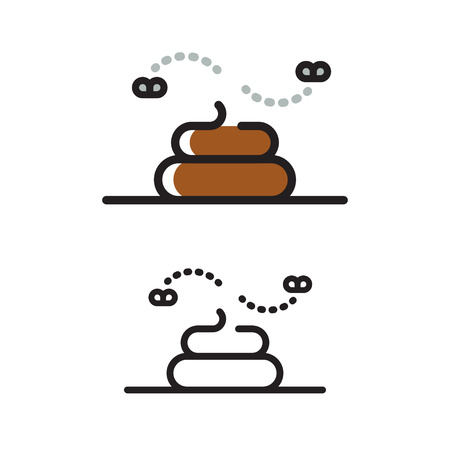 shit: Modern geometric line icon of poop. Pile of shit with flies, flat illustration.