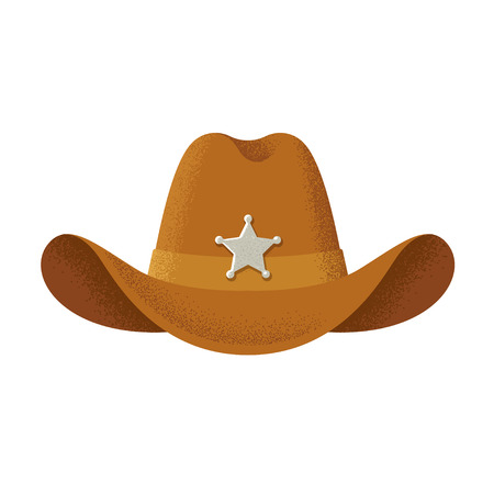 Cowboy hat illustration, vintage style with texture.