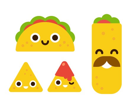 NACHO: Mexican food with cute smiling faces. Taco, burrito and nachos with salsa in flat cartoon geometric style.