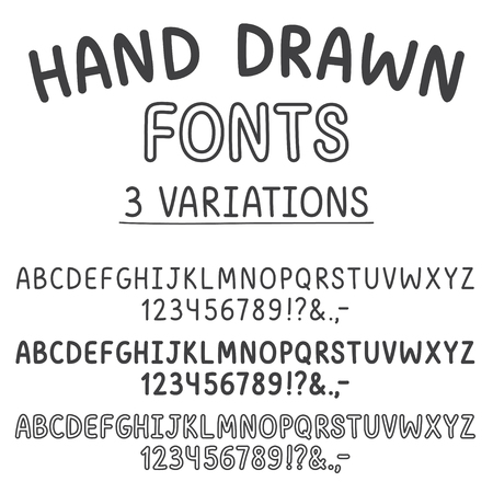 pen cartoon: fonts: thin, bold and outlined. Cute typeface.