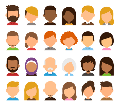 color hair: Diverse people avatar set. Different skin color, hair and clothes, blank faces. Stylized geometric flat cartoon style.