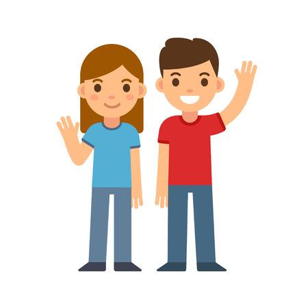 かわいい漫画の子供たち笑みを浮かべて、手を振って、男の子と女の子。弟や妹 2 人の友人。幸せな子供はベクトル イラストです。