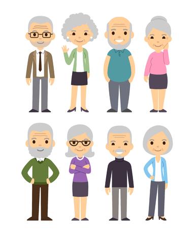 かわいい漫画の高齢者を設定します。幸せな老人、男性と女性、孤立したフラット ベクトル図。