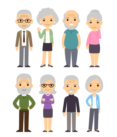 Cute cartoon senior people set. Happy old people, men and women, isolated flat vector illustration. Vettoriali