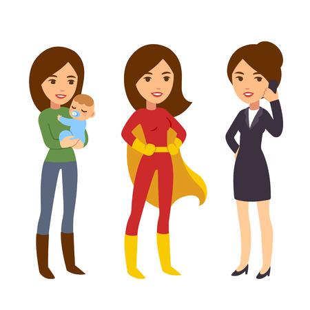 Super-Frau Konzept. Mama mit Baby, Geschäftsfrau am Telefon und in Helden-Kostüm. Humorvoll Leben und Werk Balance Illustration.