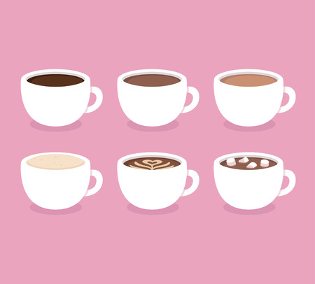 Different types of coffee: espresso, cappuccino, latte, hot chocolate with marshmallows. White coffee cups, illustration. Flat icon set.