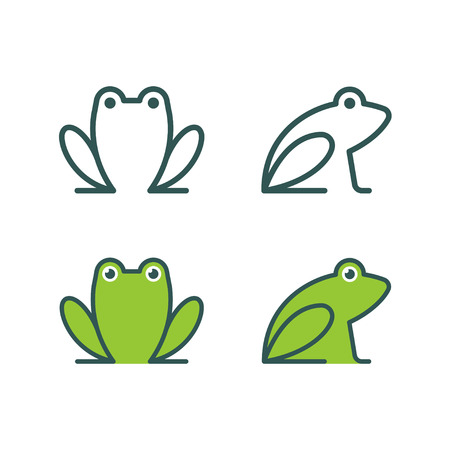Minimalist stylized cartoon frog logo. Line icon and colored version, front view and profile. Simple frog or toad  illustration set. Illustration