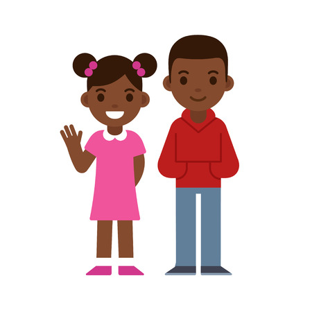 pigtails: Cute cartoon black children smiling and waving, boy and girl. Brother and sister or two friends. African American kids vector illustration.