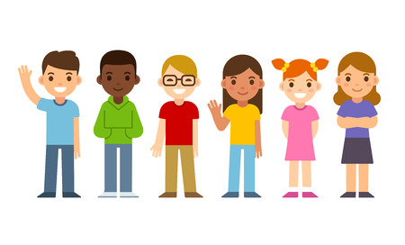 girl in red dress: Set of diverse cartoon children. Flat design vector kids, boys and girls. Illustration
