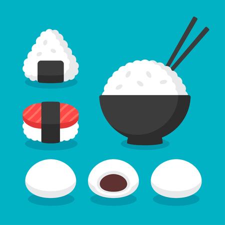 Kuchnia japońska ryż zestaw ikon naczynia. Miska ryżu pałeczkami, Onigiri i sushi, ciastka mochi ryżem lub kluskami. Płaskie kreskówki ikon wektorowych. Ilustracje wektorowe