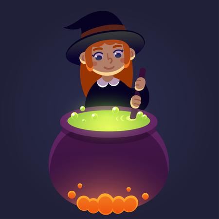 brujas caricatura: Pequeña bruja de agitar la poción en el caldero. Niña en traje de la bruja, ejemplo lindo de la historieta de Halloween.