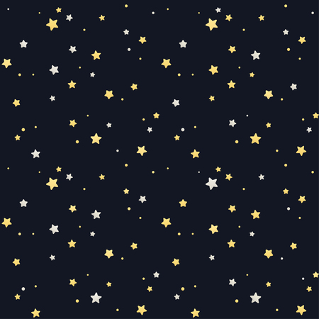 Seamless star pattern. Silver and golden stars on black background. Tile able texture.