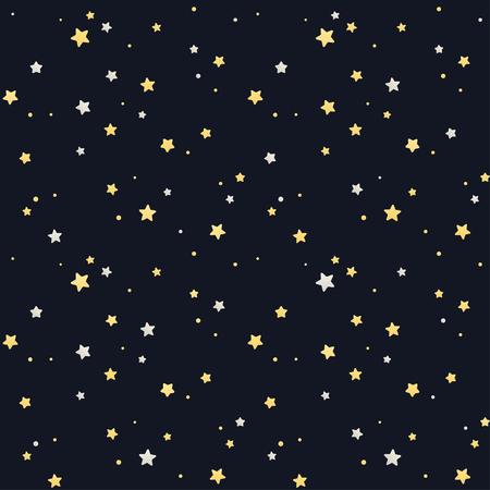 Sin fisuras patrón de estrella. Plata y estrellas de oro sobre fondo negro. Textura poder.