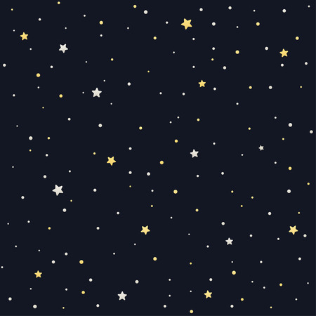 able: Seamless star pattern. Silver and golden stars on black background. Tile able texture. Illustration