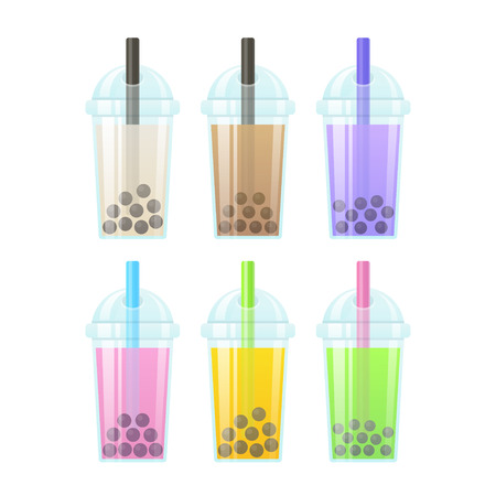 pearl tea: Bubble Tea, milk smoothie with tapioca pearls. Set of tall drink glasses with straws. Glossy bubble tea icons illustration.