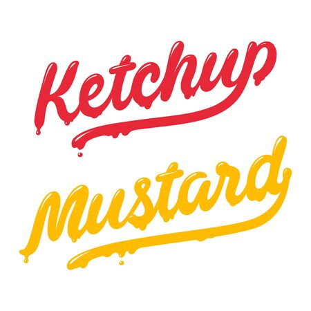 mustard: Ketchup and mustard lettering. Modern stylish handwritten typography. Isolated vector illustration.