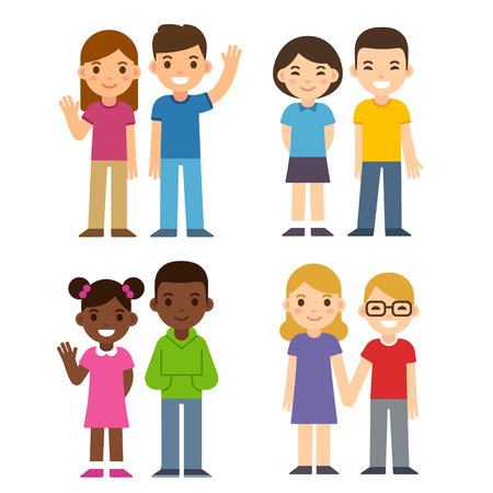 Set of cute cartoon diverse children couples, boys and girls. Caucasian, Asian and black kids. Happy children illustration, flat vector style.