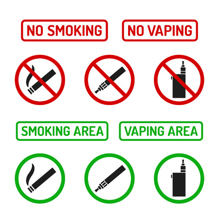 Set of No Smoking and Smoking Area symbols. Cigarettes and vaporizers (electronic cigarettes), text signs. 矢量图像