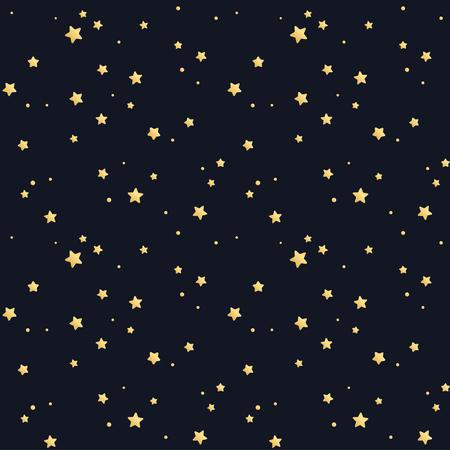 Seamless star pattern. Tillable texture. Golden stars on black background.