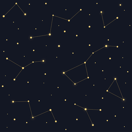 triangulum: Constellations seamless pattern. Ursa Major Big Dipper, Cassiopeia on dark night sky background.