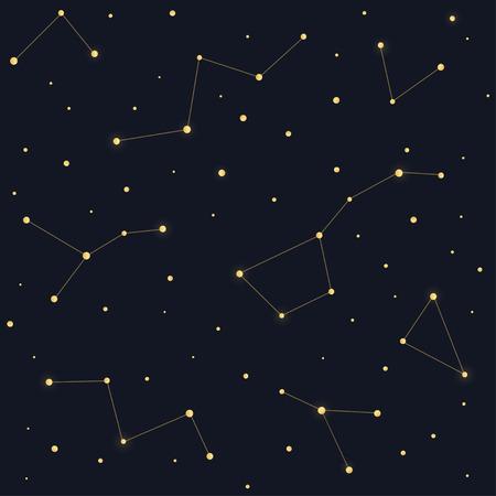 ursa: Constellations seamless pattern. Ursa Major Big Dipper, Cassiopeia on dark night sky background.