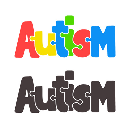 social awareness symbol: Hand drawn Autism lettering in cartoon style, with jigsaw puzzle motif. Illustration