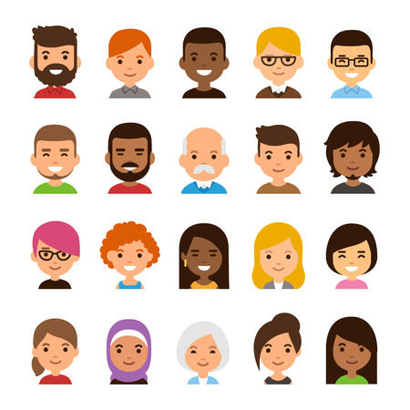 Diverse avatar set isolated on white background. Different skin and hair color, happy expressions. Cute and simple flat cartoon style. Ilustração