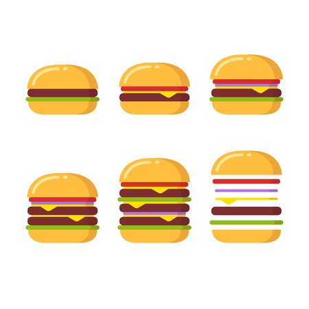 Burger icon constructor set. From simple hamburger to double and triple cheeseburger with tomato, onions and lettuce.
