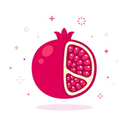 pomegranate juice: Pomegranate vector illustration. Cartoon icon of pomegranate on white background. Illustration