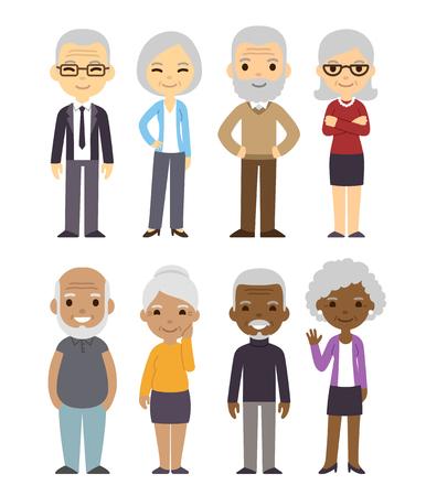 Diverse cartoon senior paren te stellen. Gelukkige oude mensen, mannen en vrouwen, aziatisch, zwart en wit. Geïsoleerde flat vector illustratie.