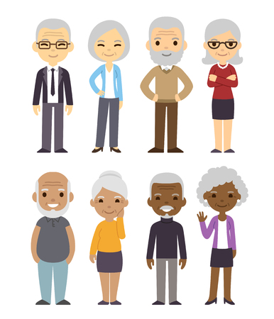 Diverse cartoon senior couples set. Happy old people, men and women, asian, black and white. Isolated flat vector illustration.