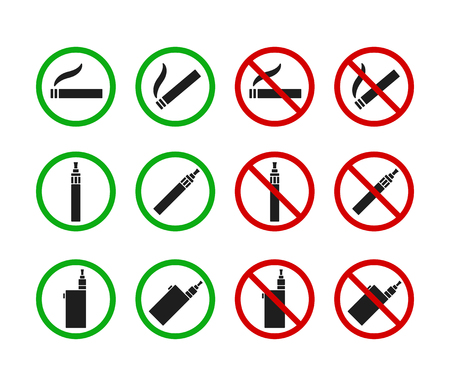 smoking a cigarette: Set of No Smoking and Smoking Allowed signs. Cigarettes and vaporizers (electronic cigarettes) Illustration