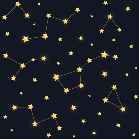 ursa: Constellations seamless pattern. Golden stars on dark night sky background. Illustration