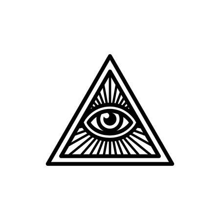 Masonic symbol, All Seeing Eye inside triangle with beams. Isolated vector illustration, geometric line icon. Stok Fotoğraf - 59697724