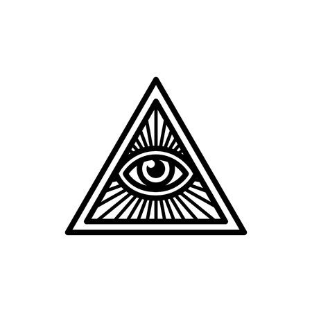 Vrijmetselaars symbool, All Seeing Eye binnen driehoek met balken. Geïsoleerde vector illustratie, geometrische lijn icoon. Stockfoto - 59697724