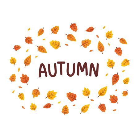 leafage: Autumn text frame with seasonal leaves. Simple cartoon vector illustration.