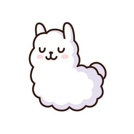 Cute cartoon llama vector illustration. Adorable white alpaca.