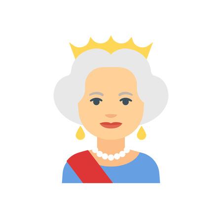 icono lindo plana de la reina con la corona, ilustración vectorial.