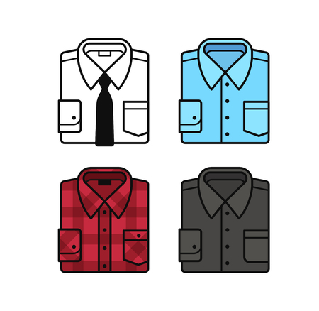 red plaid: Set of folded dress shirt illustrations. White with black tie, blue, black and red plaid shirt. Flat vector line icons.