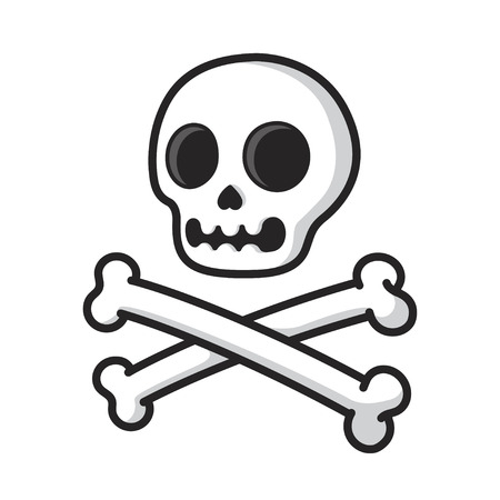 Simple cartoon skull and crossbones isolated on white. Modern comic style vector illustration. Illustration
